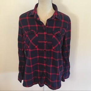 J. Crew navy/red plaid flannel button up 14